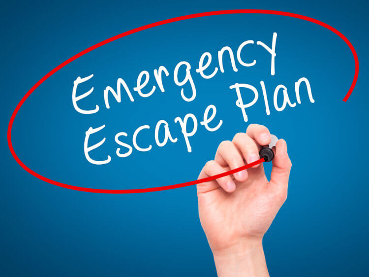 Emergency escape place for fire marshal training within care homes